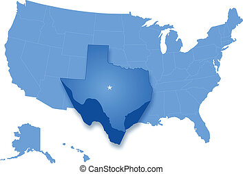 Political map of United States with all states where Texas is pulled out
