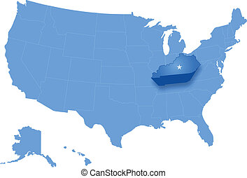 Map of States of the United States where Kentucky is pulled...