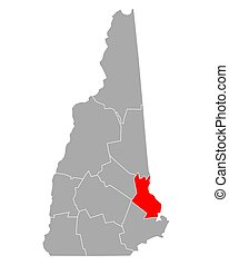 Map of Strafford in New Hampshire