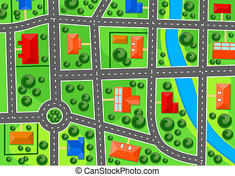 Map of suburb town for real estate concept design