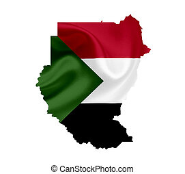 Map of Sudan with waving flag isolated on white