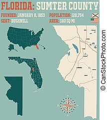 Map of Sumter County in Florida