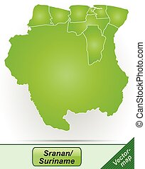 Map of suriname with borders in green