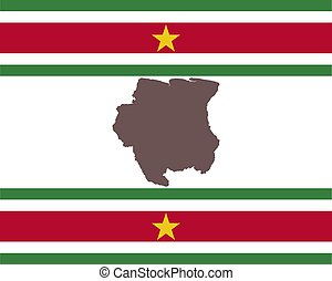 Map of Suriname on background with flag