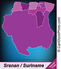 Map of suriname with borders in violet
