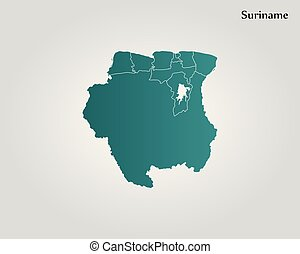Map of Suriname. Vector illustration. World map