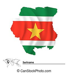 Map of Suriname with flag