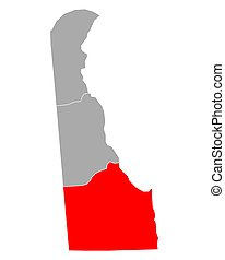 Map of Sussex in Delaware
