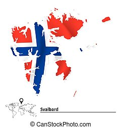 Map of Svalbard with flag