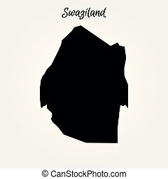 Map of Swaziland. Vector illustration. World map