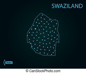 Map of Swaziland. Vector illustration. World map - Map of...