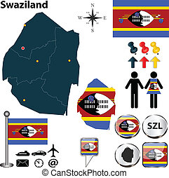 Map of Swaziland - Vector of Swaziland set with detailed...