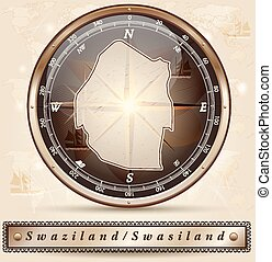 Map of swaziland with borders in bronze