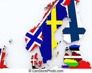 Map of Sweden. 3d