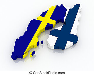 Map of Sweden and Finland. 3d