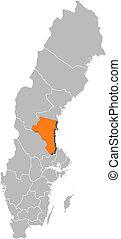 Map of Sweden, Gaevleborg County highlighted