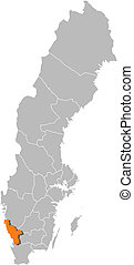 Map of Sweden, Halland County highlighted - Political map of...