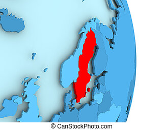 Map of Sweden in red