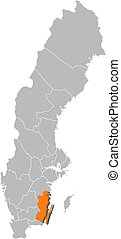 Map of Sweden, Kalmar County highlighted
