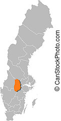 Map of Sweden, Oerebro County highlighted