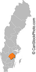 Map of Sweden, Oestergoetland County highlighted
