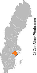Map of Sweden, Soedermanland County highlighted
