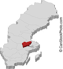 Map of Sweden, Vaermland County highlighted