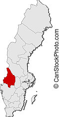 Map of Sweden, Vaermland County highlighted - Political map...
