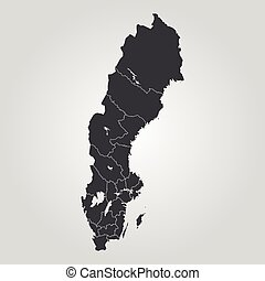Map of Sweden. Vector illustration. World map