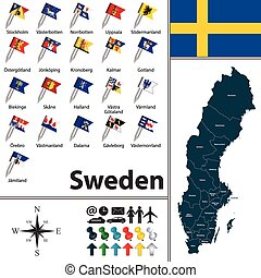 Map of Sweden - Vector map of Sweden with regions with flags