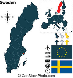 Map of Sweden with European Union - Vector set of Sweden...