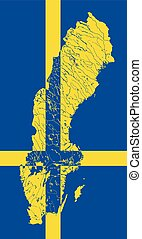 Map of Sweden with lakes and rivers.