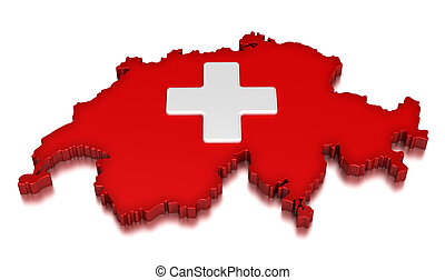 Map of Switzerland. 3d render Image. Image with clipping path