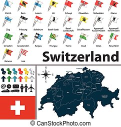 Map of Switzerland - Vector map of Switzerland with regions...
