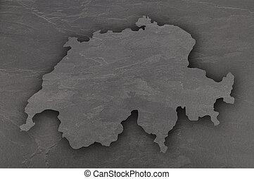 Map of Switzerland on dark slate