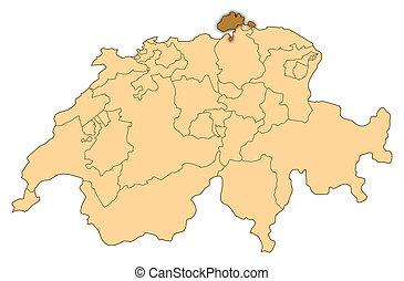 Map of Switzerland, Schaffhausen highlighted - Map of...