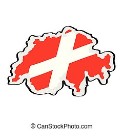Map of Switzerland with its flag