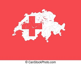 Map of Switzerland with lakes and rivers in colors of the Swiss flag.