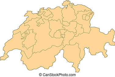 Map of Switzerland with the several provinces.