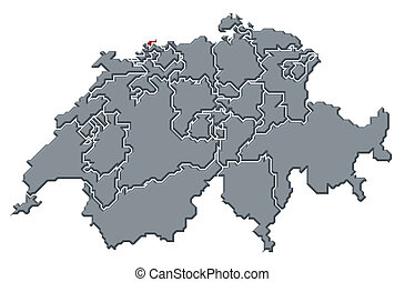Political map of Swizerland with the several cantons where Basel-Stadt is highlighted.