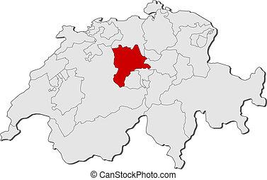 Map of Swizerland, Lucerne highlighted