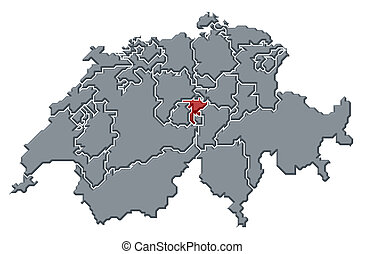 Map of canton nidwalden switzerland stock photography Search