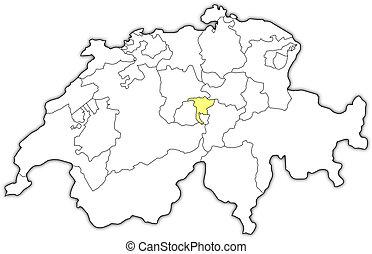 Map of nidwalden switzerland Vector map of canton vector