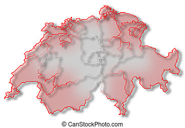 Map of Swizerland - Political map of Swizerland with the...