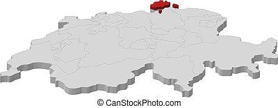 Map of Swizerland, Schaffhausen highlighted - Political map...