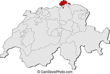 Map of schaffhausen switzerland Vector map of canton vector