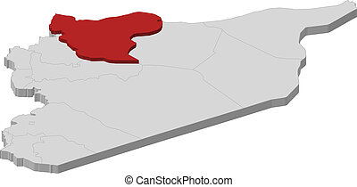 Map of Syria, Aleppo highlighted - Political map of Syria ...