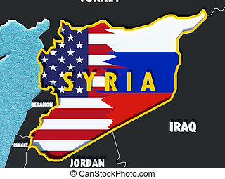 Map of Syria divided with USA and Russia flags with surrounding countries - 3D render