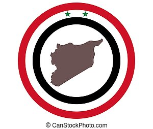 Map of Syria on background with flag