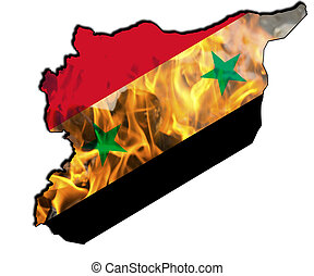 map of Syria with the national flag